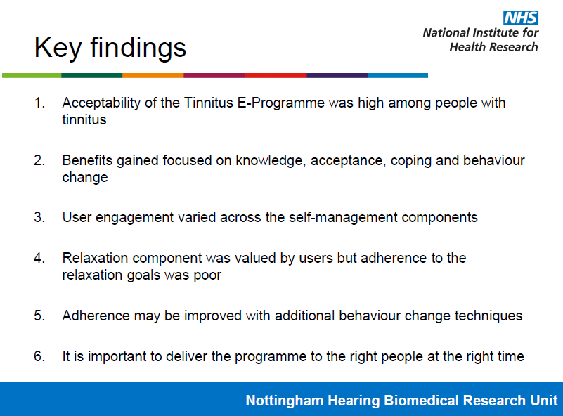 Key findings from the NHBRC Independent Evaluation of the Tinnitus E-Programme